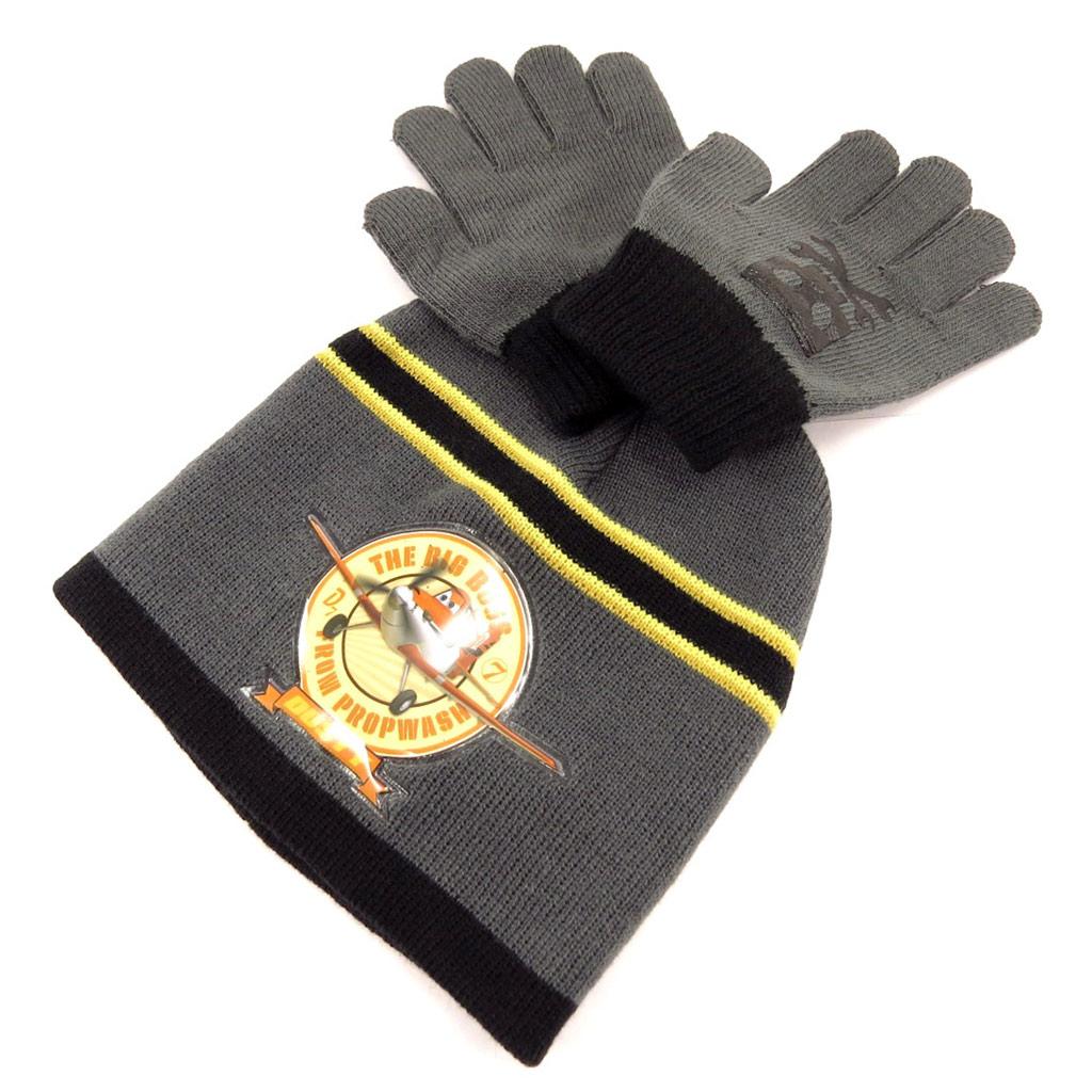 Ensemble gants et bonnet \'Planes\' gris - [K9680]