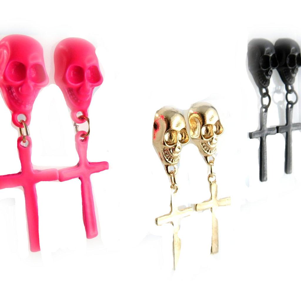 3 paires de boucles \'Tête de Mort\' rose doré noir  - [K9766]