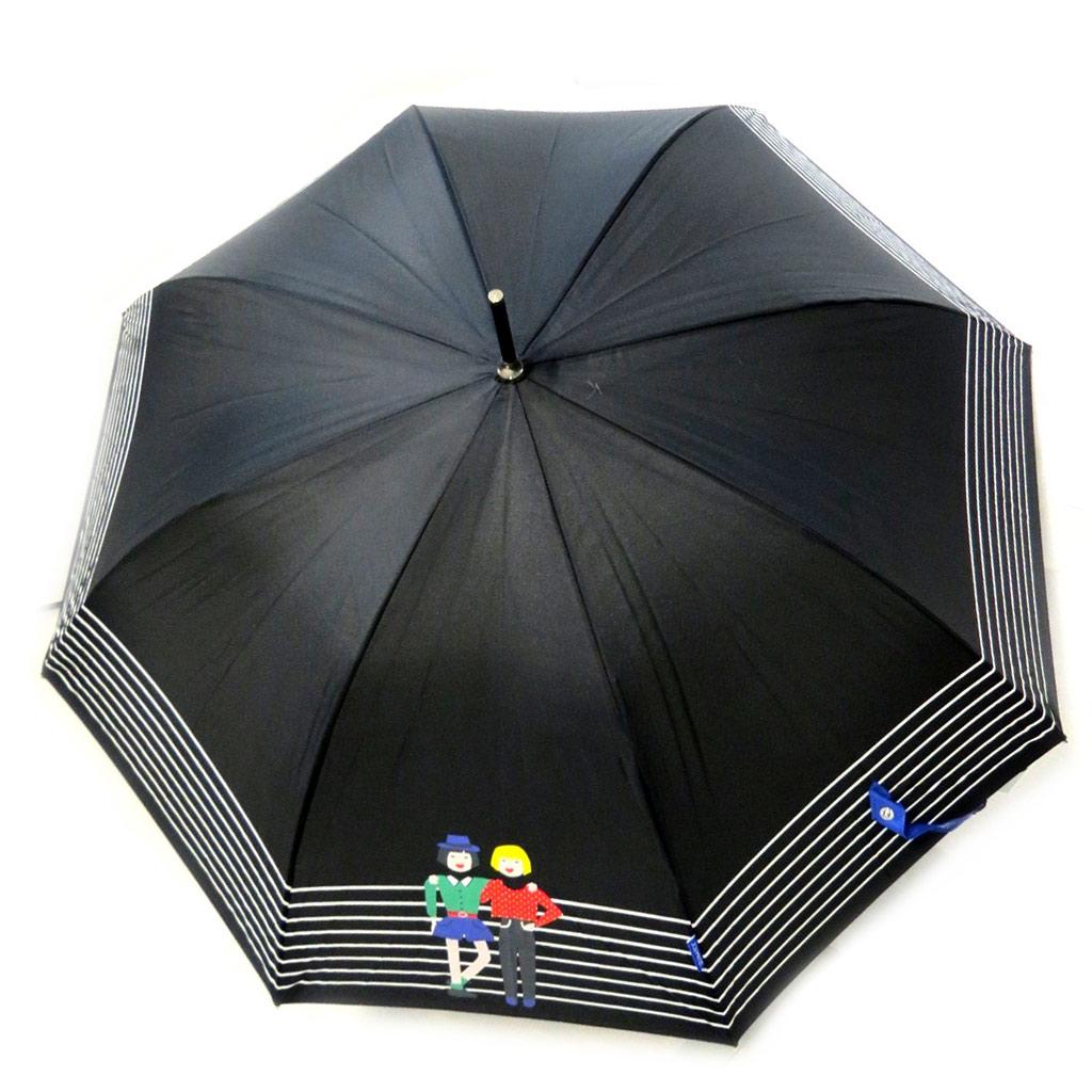 Parapluie canne \'Joy Heart\' noir bleu (Balade) - [M9811]