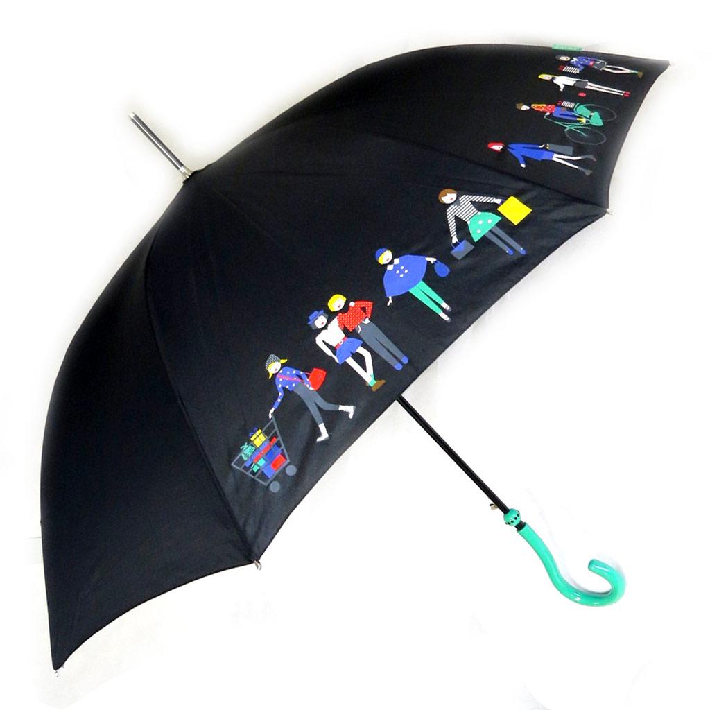 Parapluie canne \'Joy Heart\' noir vert (Balade) - [M9813]
