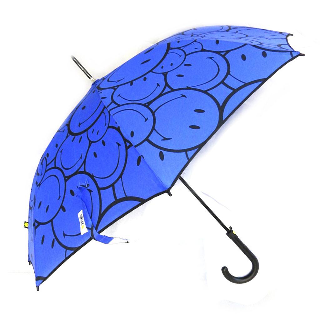 Parapluie canne \'Smiley\' bleu - [M9815]