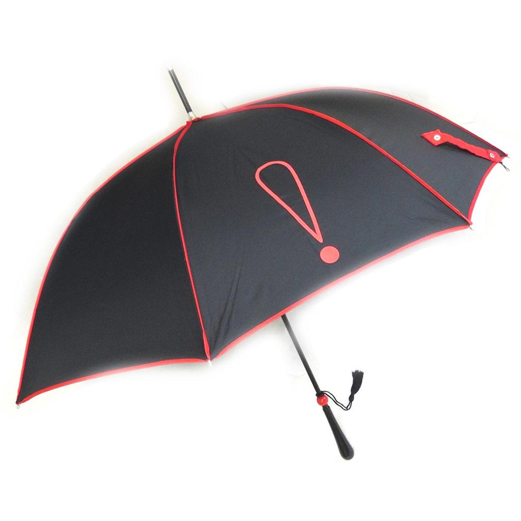 Parapluie canne \'Joy Heart\' noir rouge (Exclamation) - [M9821]