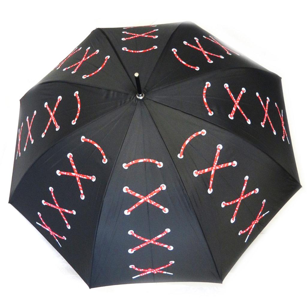 Parapluie canne \'Joy Heart\' noir rouge (Corset) - [M9823]