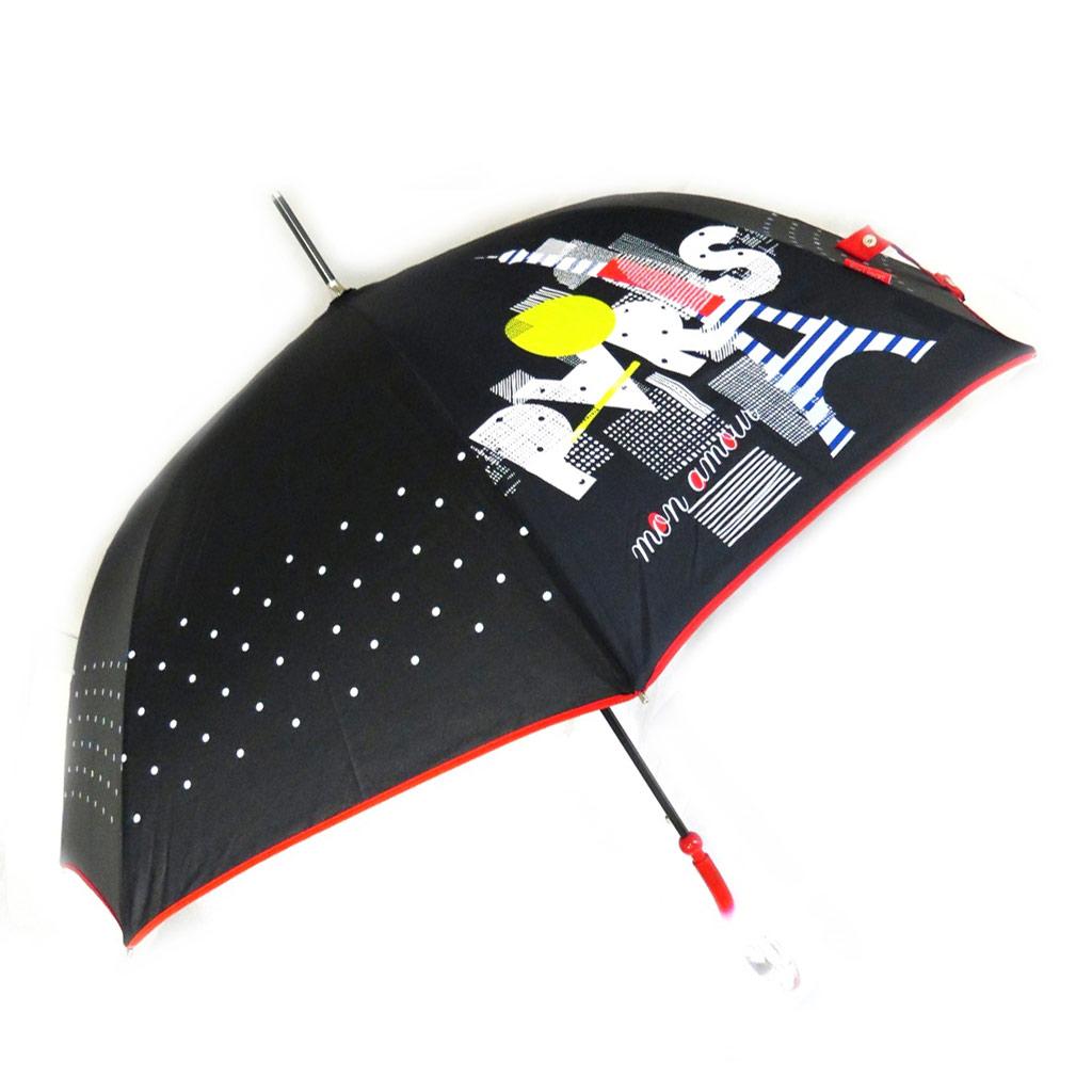 Parapluie canne \'Joy Heart\' noir rouge (Paris) - [M9824]