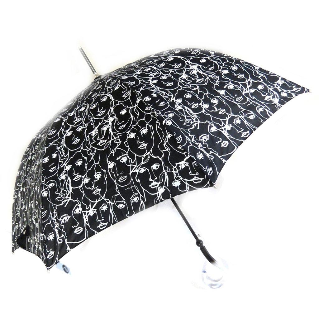 Parapluie canne \'Joy Heart\' noir blanc (Visages) - [M9825]