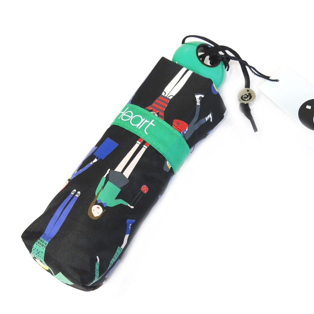 Parapluie mini \'Joy Heart\' noir vert (Balade) - [M9826]