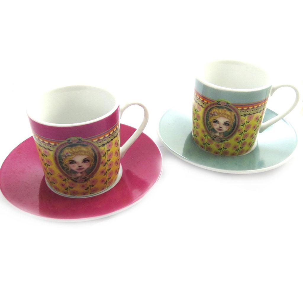 Coffret 2 tasses à café \'Lili Petrol\' rose vert (Chloé) - [M9874]