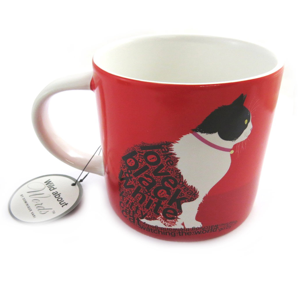 Mug céramique \'Wild about Words\' (Sitting cat) rouge - [M9882]