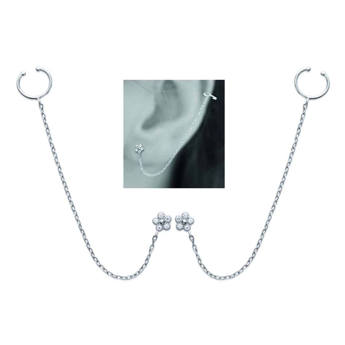 Boucles bagues oreilles argent \'Flora\' blanc argenté (rhodié) - 5 mm - [M9930]