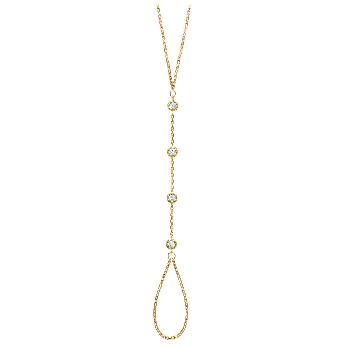 Bracelet Bague Plaqué Or \'Unique\' blanc doré - 4 mm - [M9932]