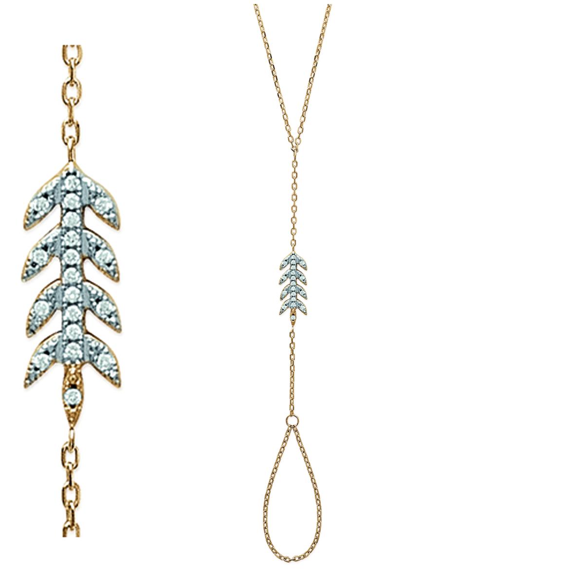 Bracelet Bague Plaqué Or \'Epi de blé\' blanc doré - 17x7 mm - [M9961]