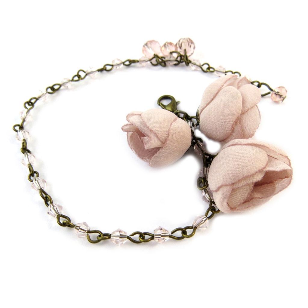 Bracelet artisanal \'Les Antoinettes\' vieux rose (fait main) - [P0802]
