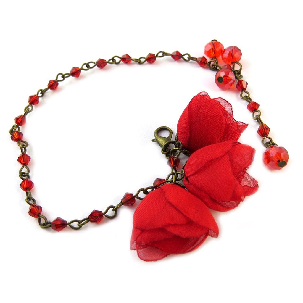 Bracelet artisanal \'Les Antoinettes\' rouge (fait main) - [P0803]