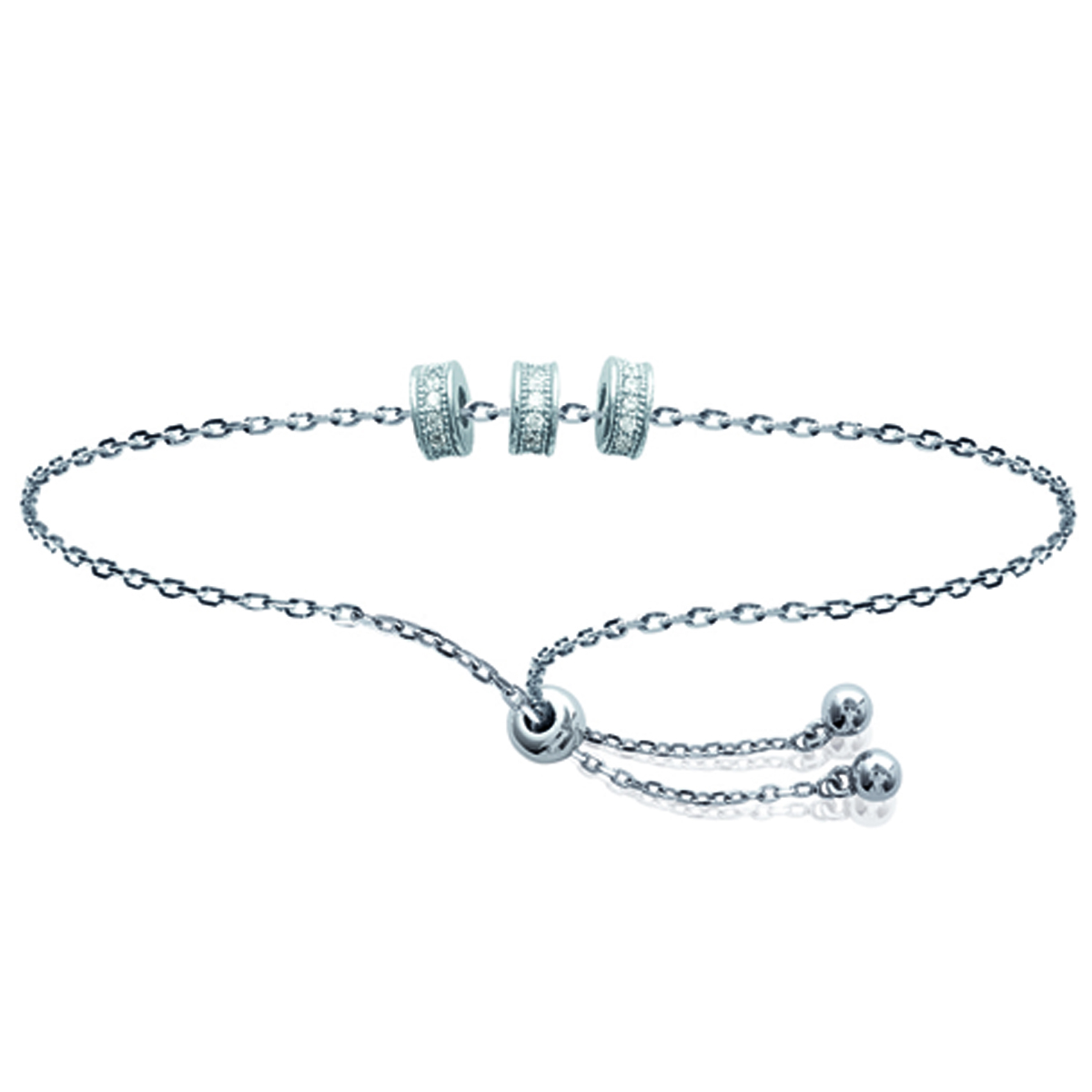Bracelet Argent \'Sissi\' blanc argenté (rhodié) - 5x2 mm - [N0000]