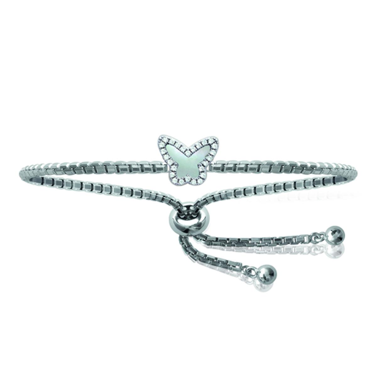 Bracelet Argent \'Papillon\' blanc nacré (rhodié) - 11x9 mm - [N0004]