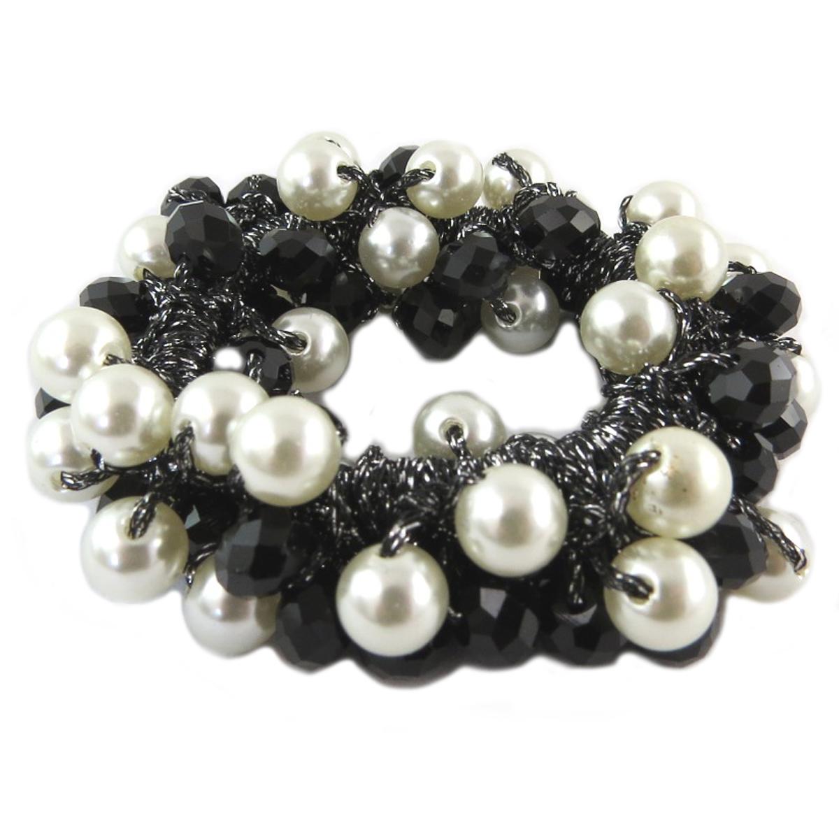 Chouchou créateur \'Sissi\' noir ivoire (cristal) - largeur 2 cm - [Q0080]