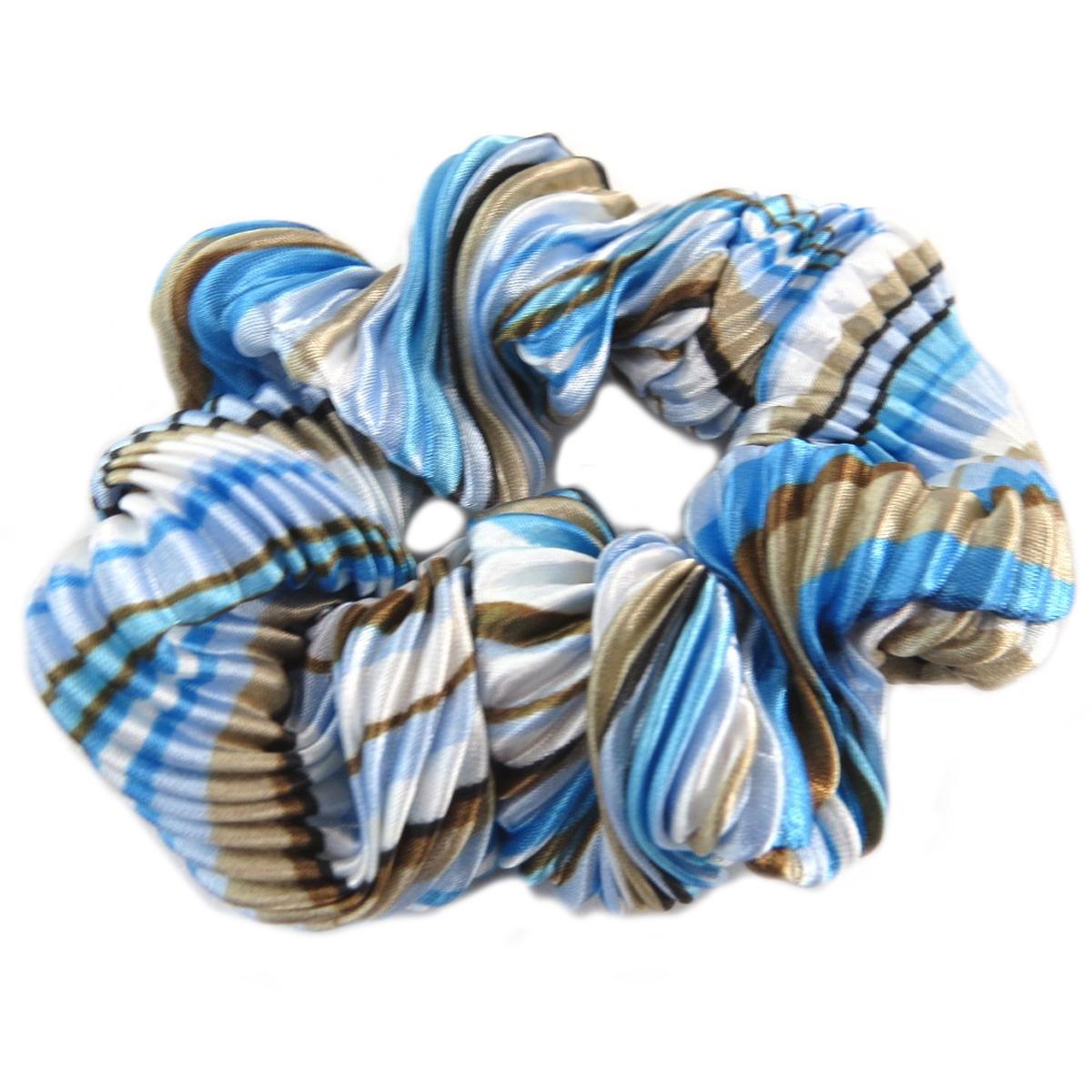 Chouchou créateur \'Sissi\' bleu (satiné) - largeur 4 cm - [Q0095]