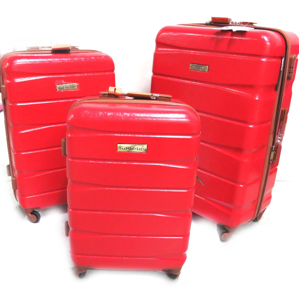 Set de 3 valises trolley ABS \'Murano\' rouge (51/61/71 cm) - [N0170]