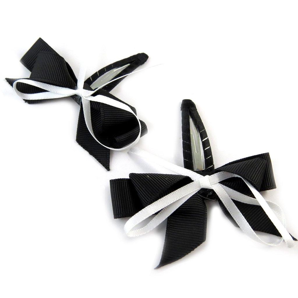 Paire de barrettes \'Noeud Romantique\' noir blanc - [P0085]