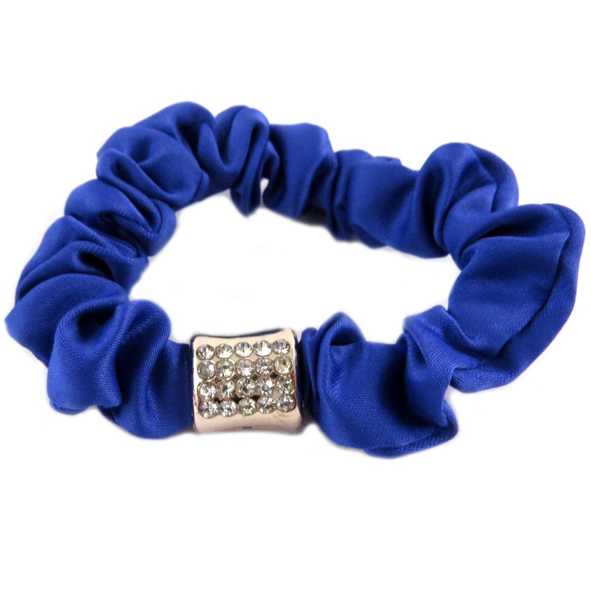 Chouchou créateur \'Sissi\' bleu (satin) - largeur 1 cm - [Q0105]