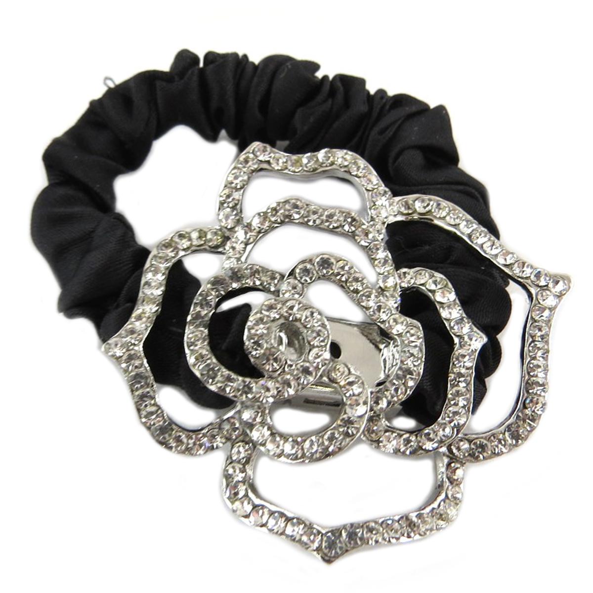 Chouchou créateur \'Sissi\' noir argenté (satin) - largeur 1 cm, fleur 45x4 cm - [Q0110]
