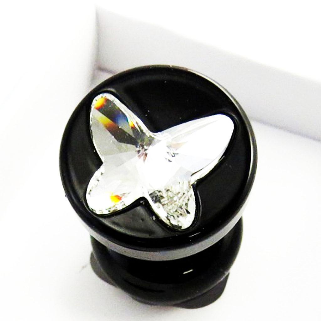 Bijou anal \'Cristal\' butterfly noir (Crystal) - [N0199]