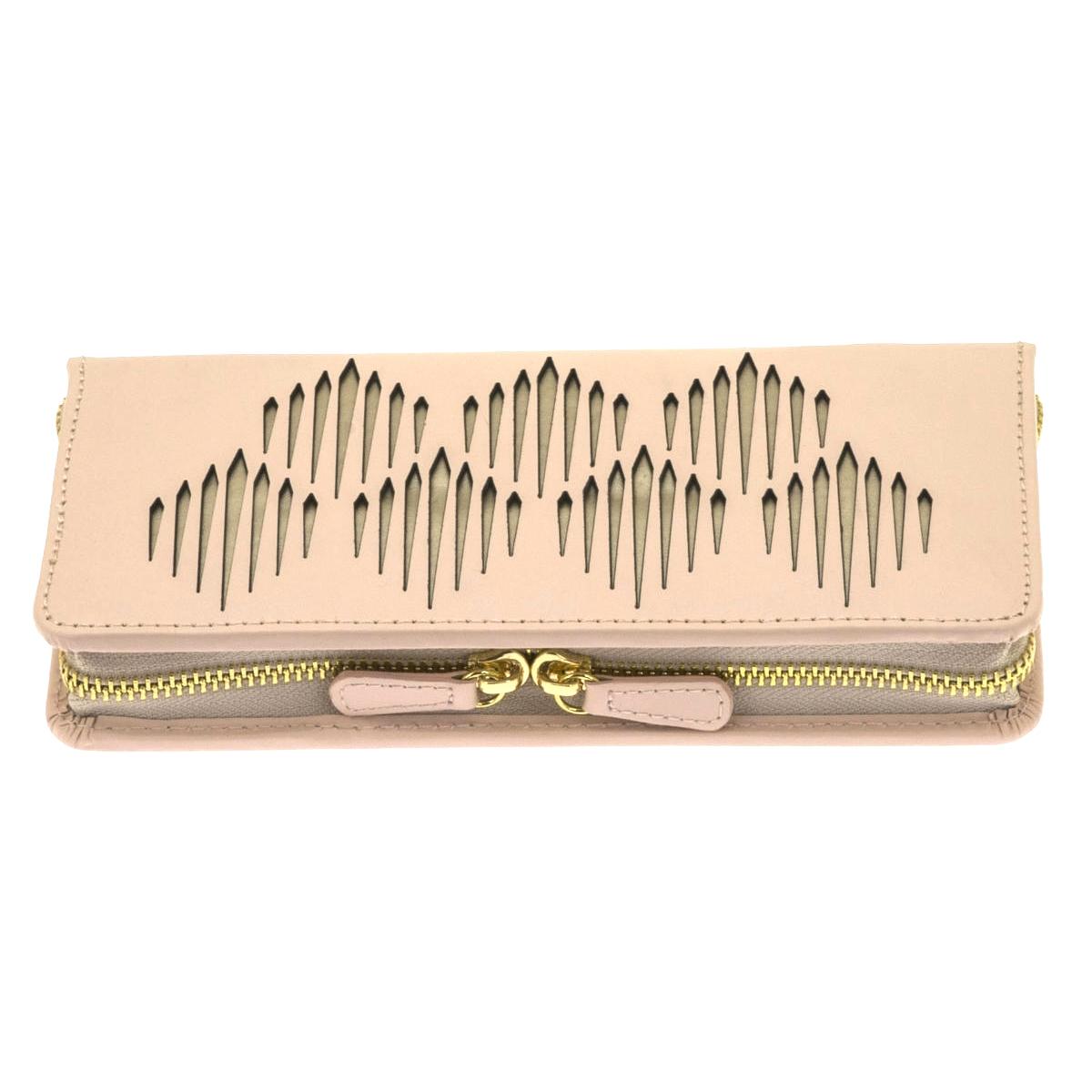 Trousse à Bijoux zippée \'Victoria\' rose pâle doré - 21x10x3 cm - [Q0146]
