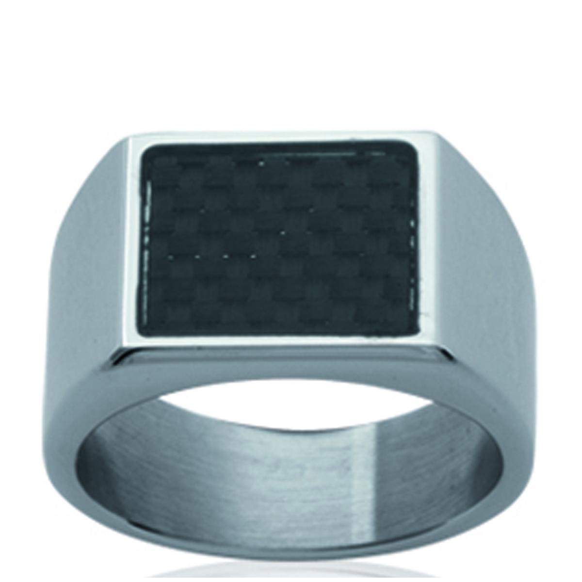 Chevalière acier \'Peaceful\' carbone acier - 12x14 mm - [P0155]