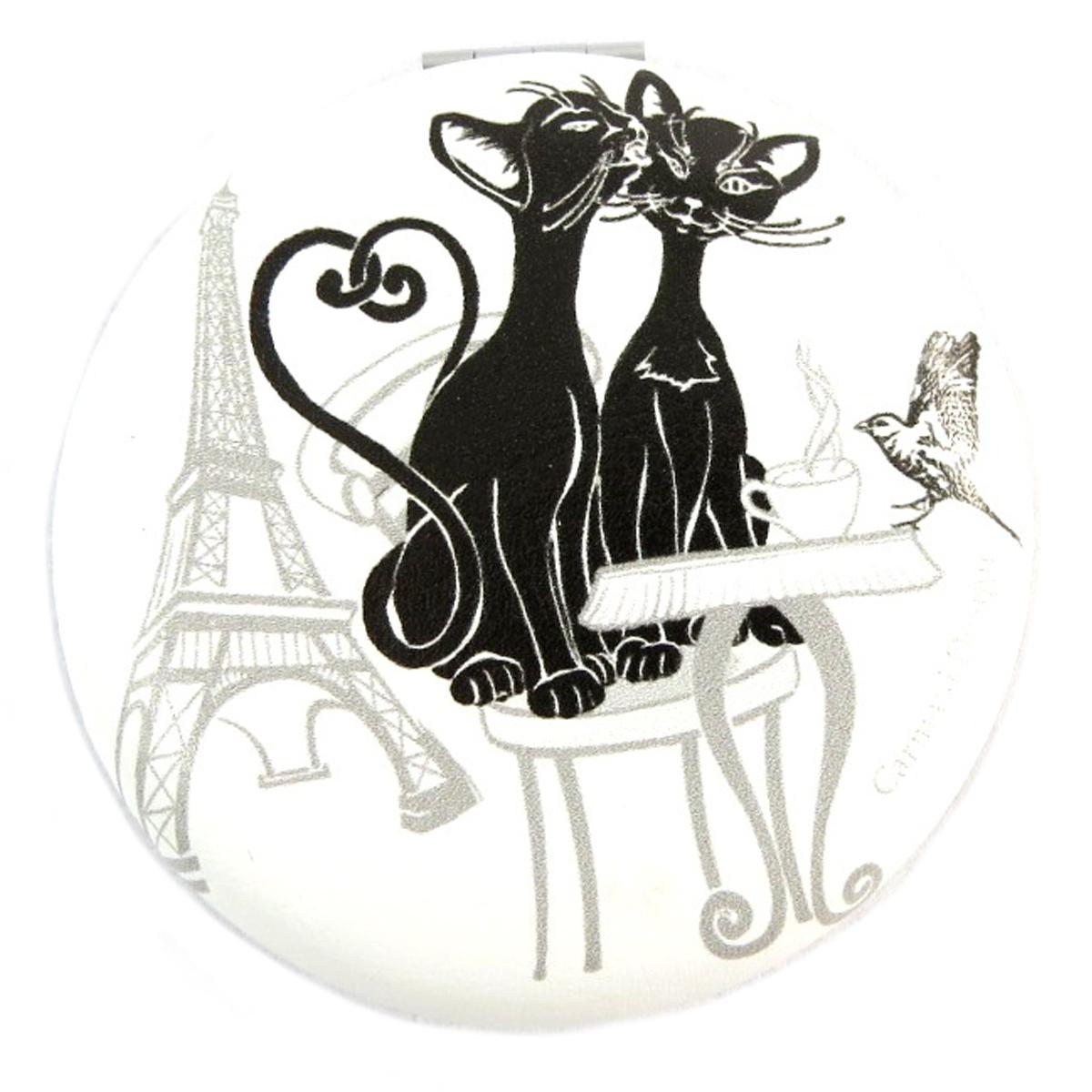 Miroir Créateur \'Les Chats\' blanc noir - 7x2 cm - [Q0172]