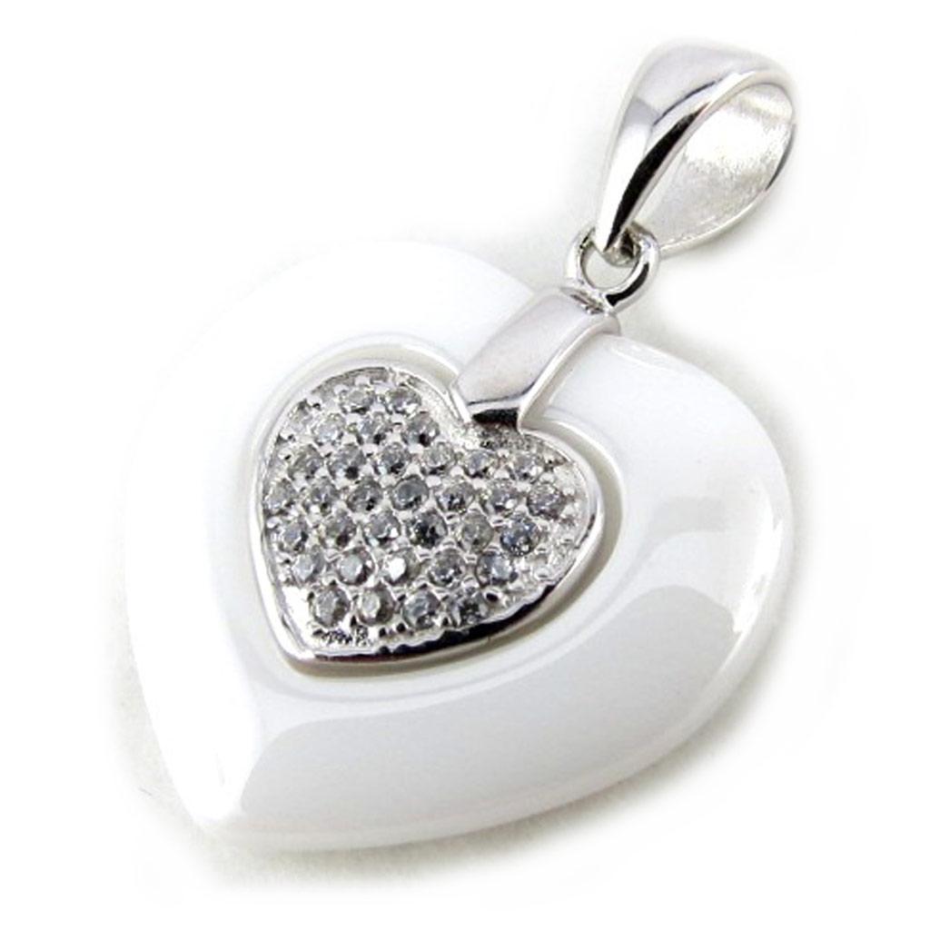 Pendentif Argent \'Love\' blanc argenté (céramique) - [N0330]