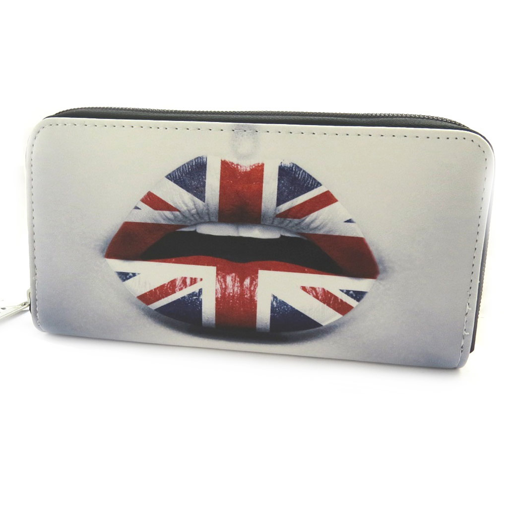 Grand porte-monnaie zippé \'So British\' gris multicolore (Kiss) - [N0358]