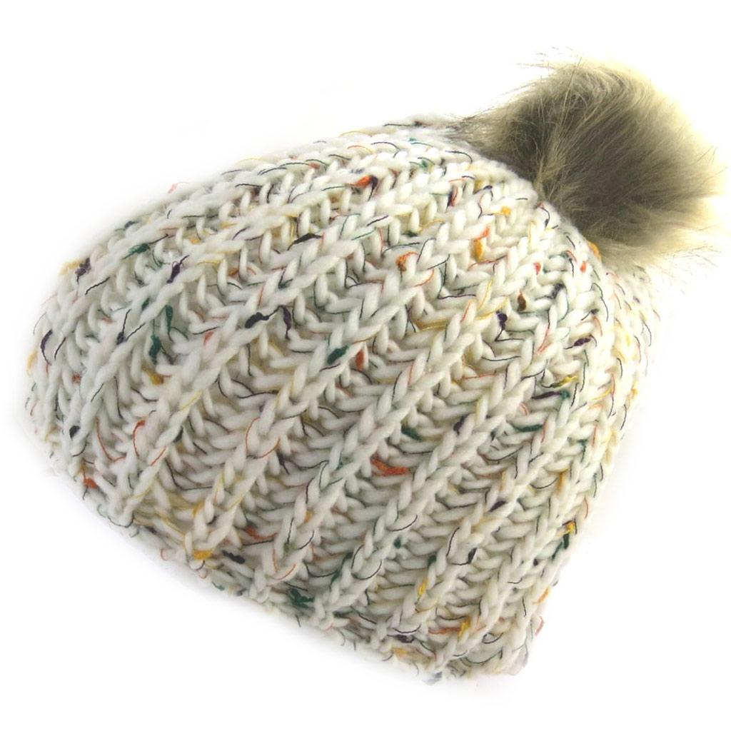 Bonnet tricot \'Coloriage\' beige  - [N0374]