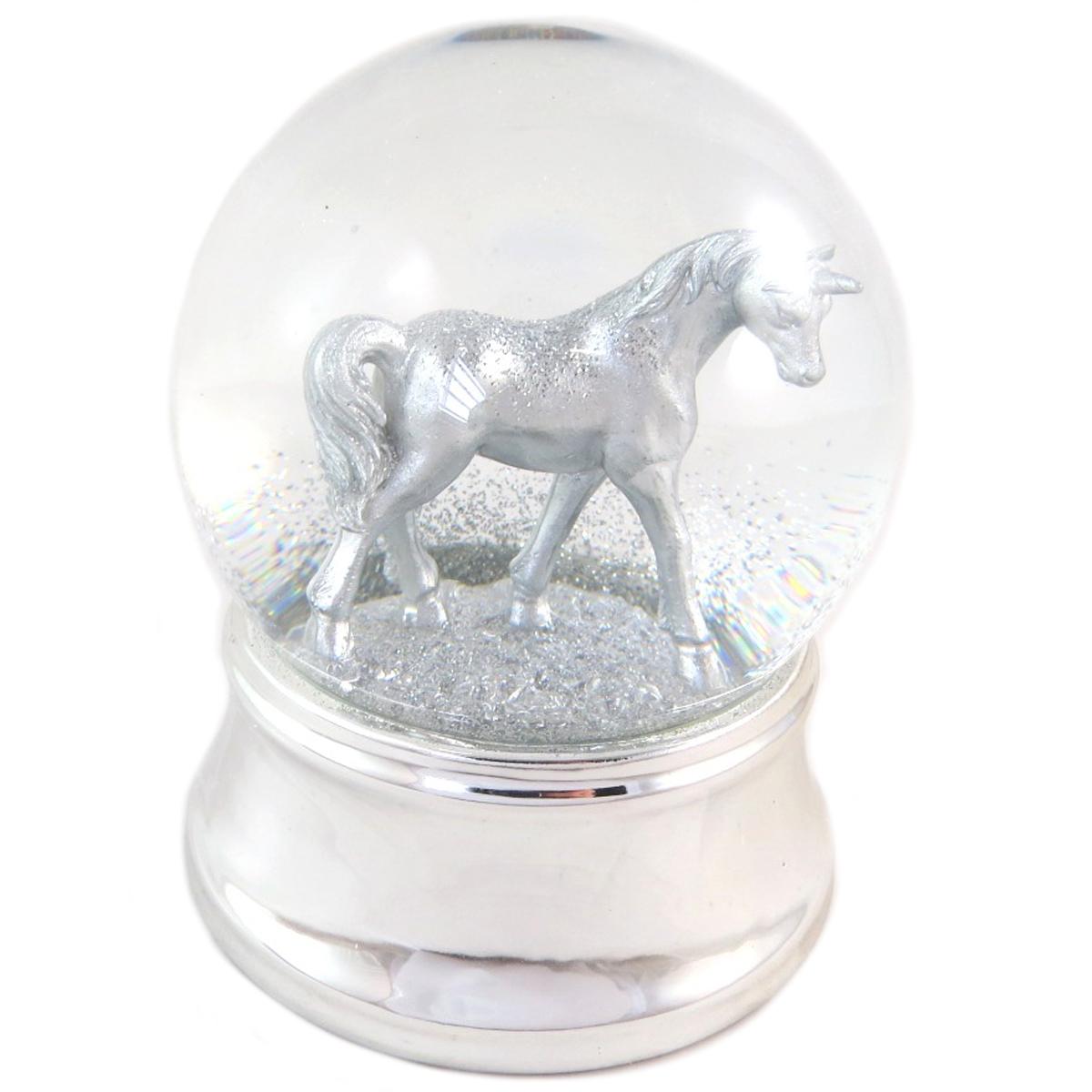 Boule à eau led musicale \'Licorne My Unicorn\' argenté - 12x10 cm - [Q0310]