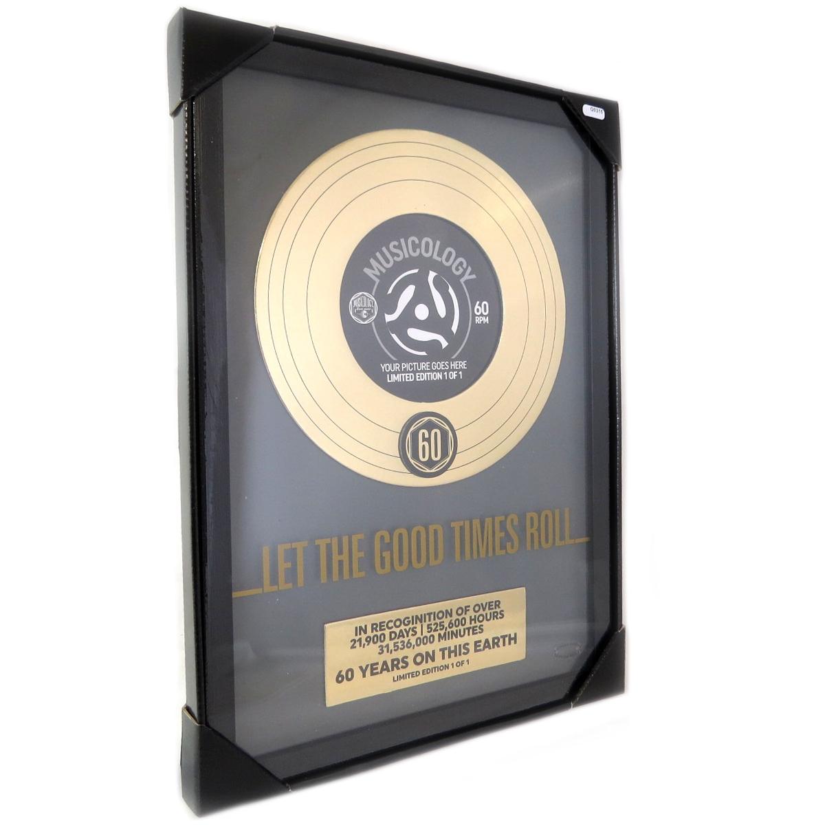Cadre disque d\'or \'60 ans\' (Let the good times roll) noir doré - 43x30x25 cm - [Q0315]