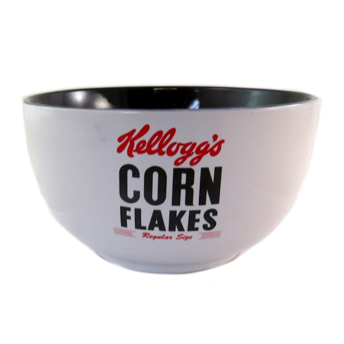 Bol céramique \'Kellogg\'s\' noir blanc (Corn Flakes) - 14x8 cm - [Q0319]