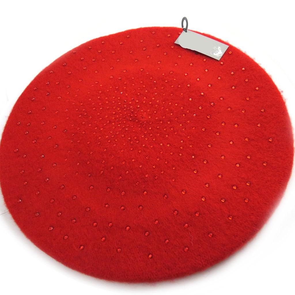 Beret laine \'Scarlett\' rouge (strass) - [N0400]