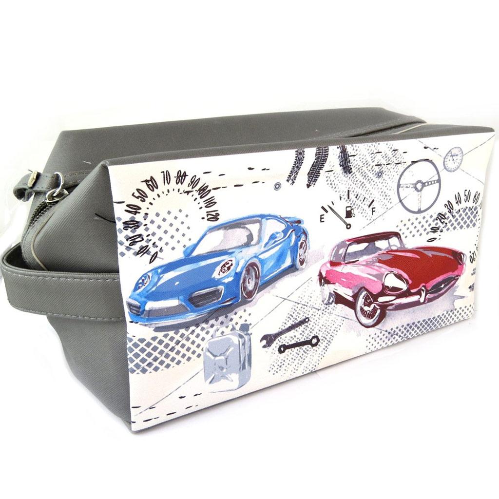 Trousse de toilette \'Vintage Cars\' beige gris - 25x14x12 cm - [P0251]