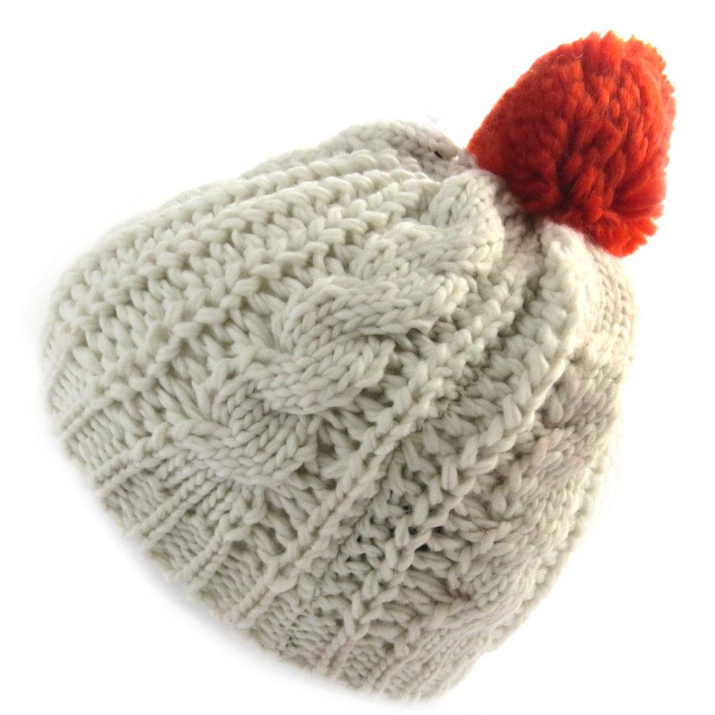 Bonnet tricot \'Coloriage\' beige rouge - [N0401]
