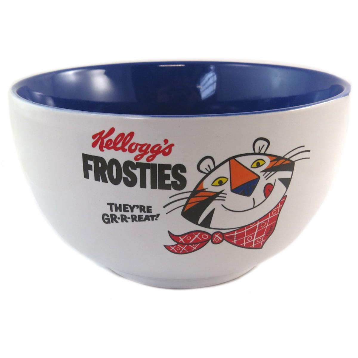 Bol céramique \'Kellogg\'s\' bleu blanc (Frosties) - 14x8 cm - [Q0324]