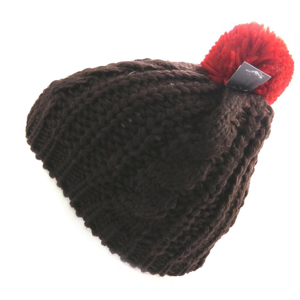 Bonnet tricot \'Coloriage\' marron rouge - [N0403]