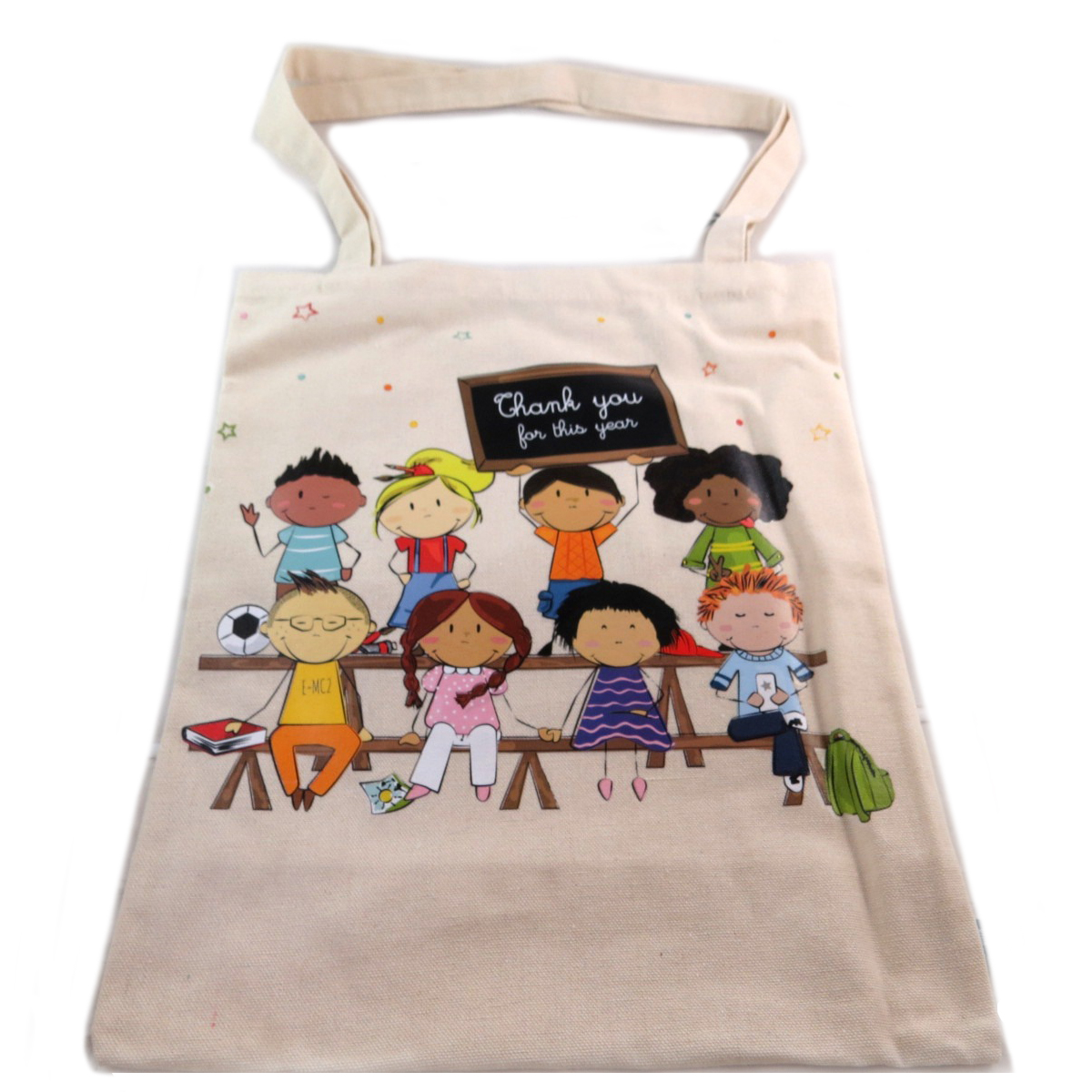 Sac coton / Tote bag \'Thank you for this year\' (Maître / Maîtresse) beige -  415x35 cm - [Q0328]