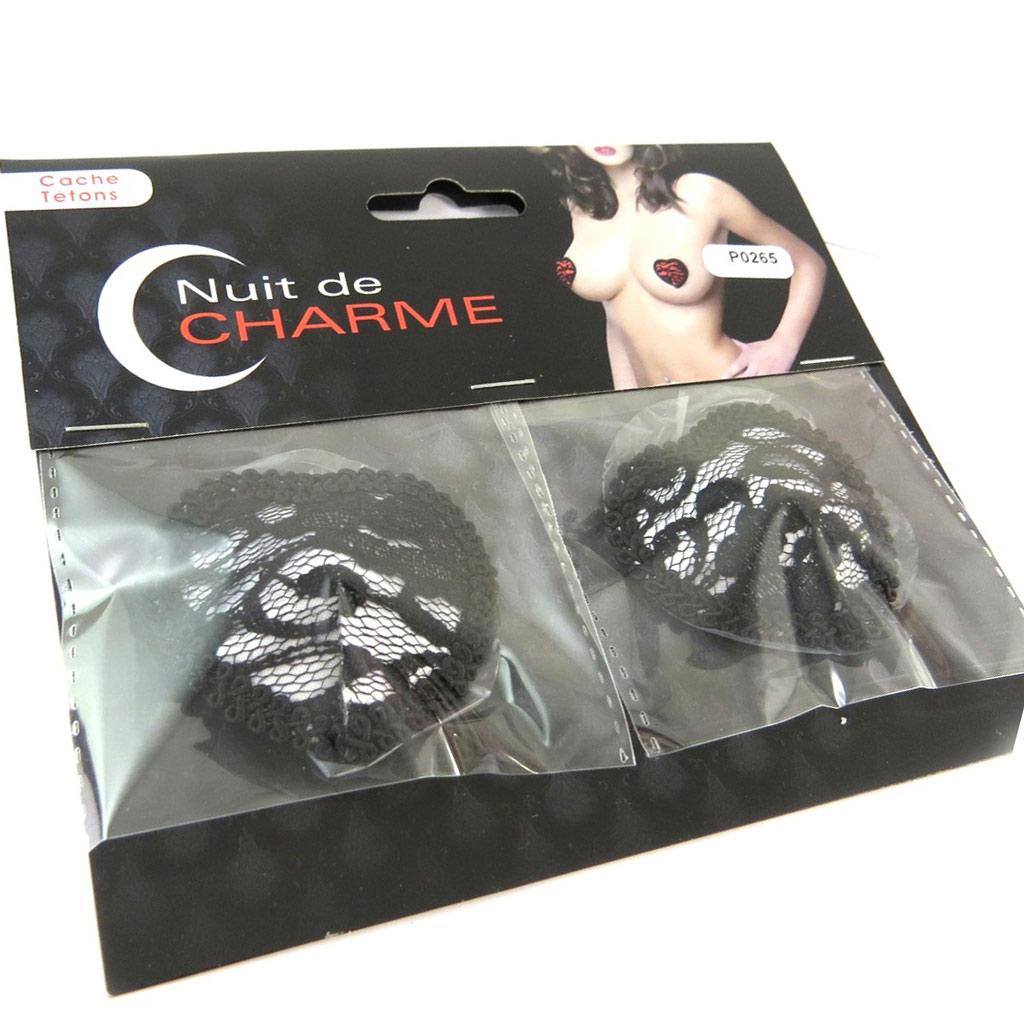 Cache-tétons auto-adhésifs \'Aphrodite\' noir blanc (coeur dentelle) - [P0265]