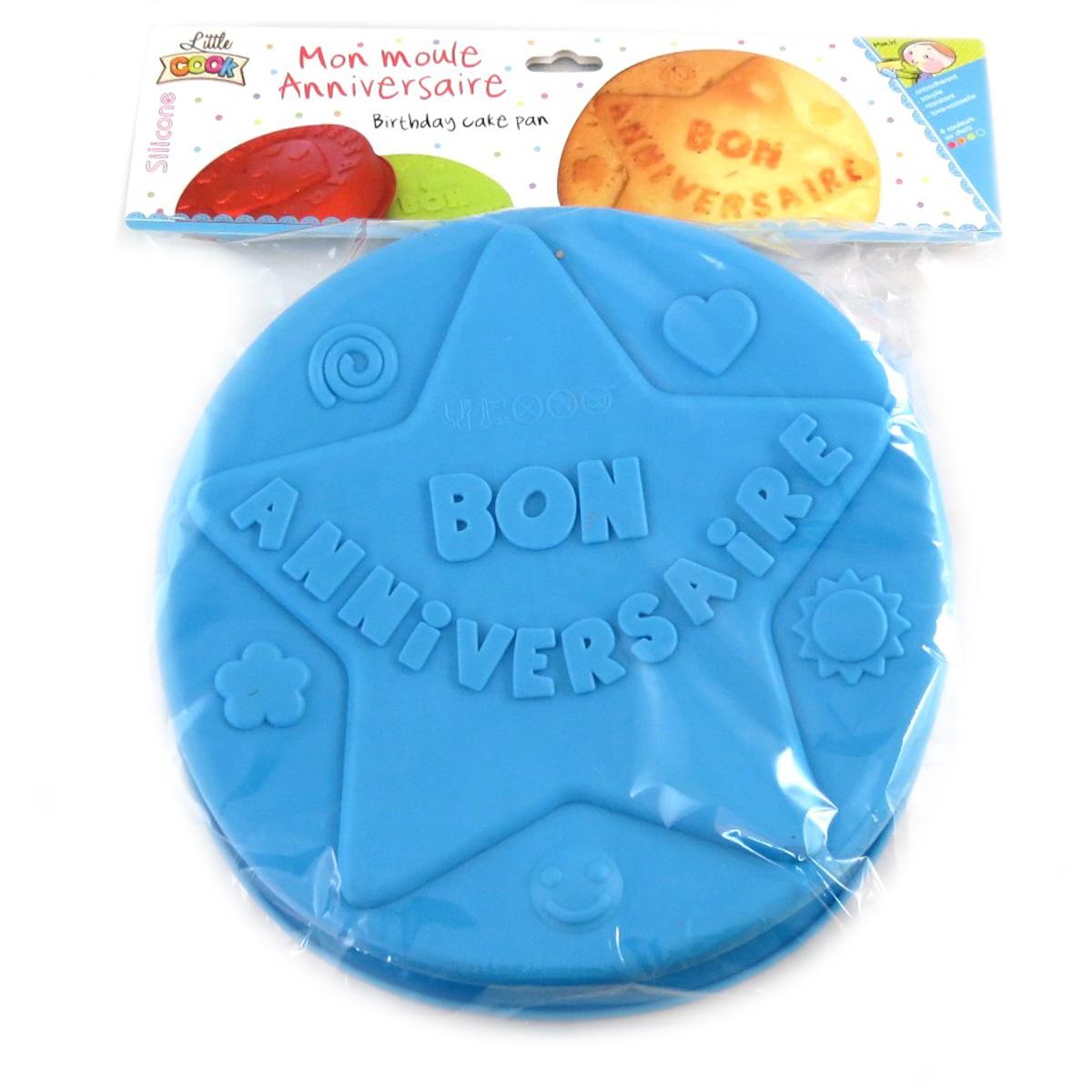 Moule silicone \'Bon Anniversaire\' bleu (étoile) - 26 cm - [Q0348]