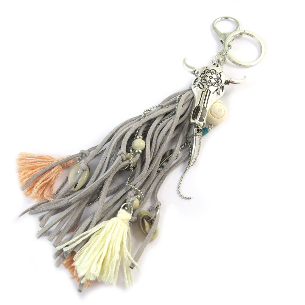 Bijoux de sac / Porte-Clés \'Navajos\' gris - 18 cm - [P0276]