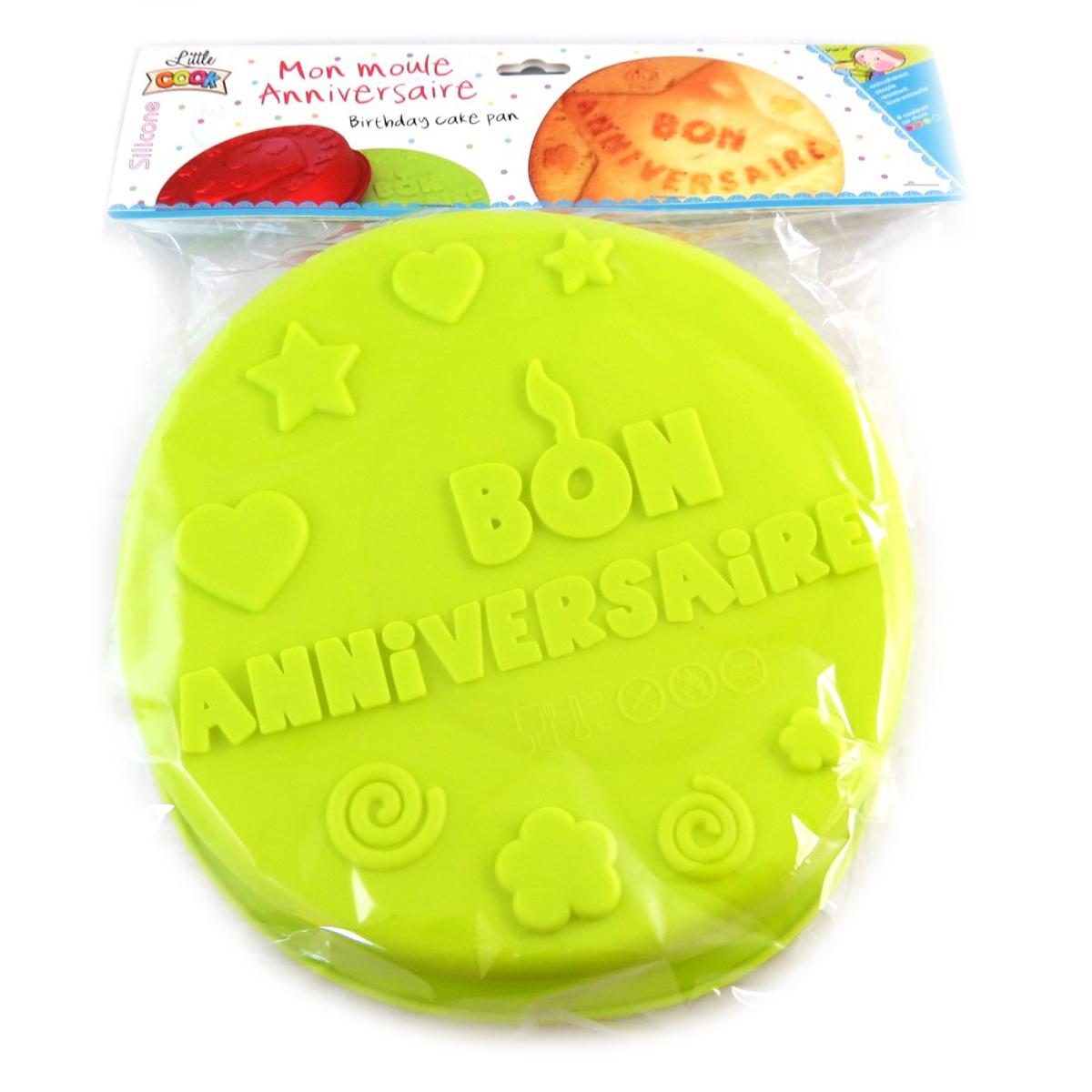 Moule silicone \'Bon Anniversaire\' vert - 26 cm - [Q0353]
