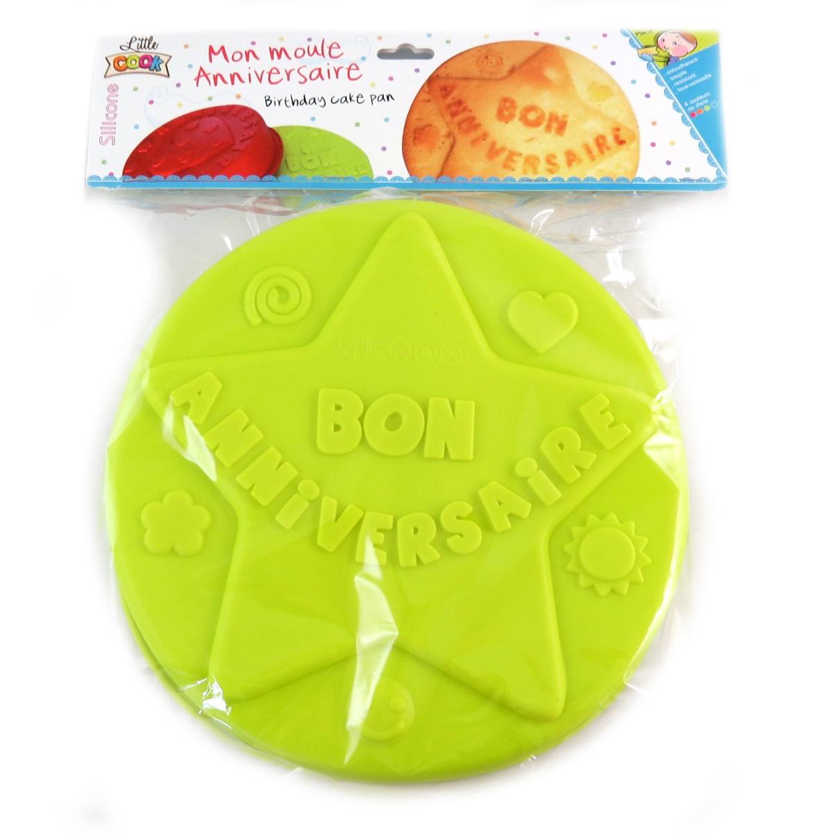 Moule silicone \'Bon Anniversaire\' vert (étoile) - 26 cm - [Q0356]