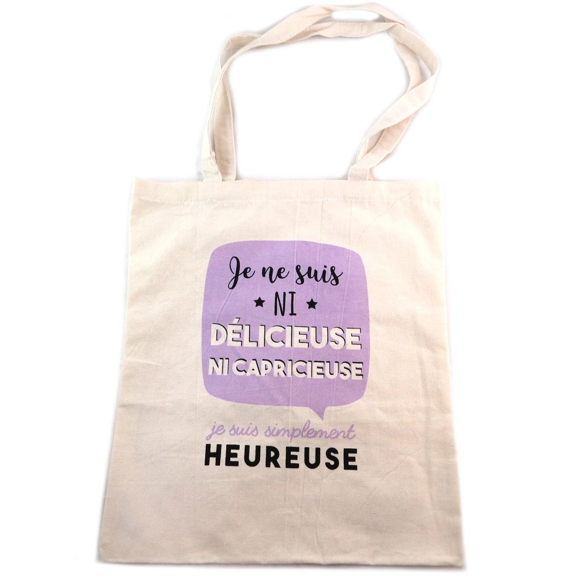 Sac coton / Tote bag \'Messages\' violet beige (Je ne suis ni delicieuse ni capricieuse je suis simplement Heureuse) -  41x365 cm - [Q0362]