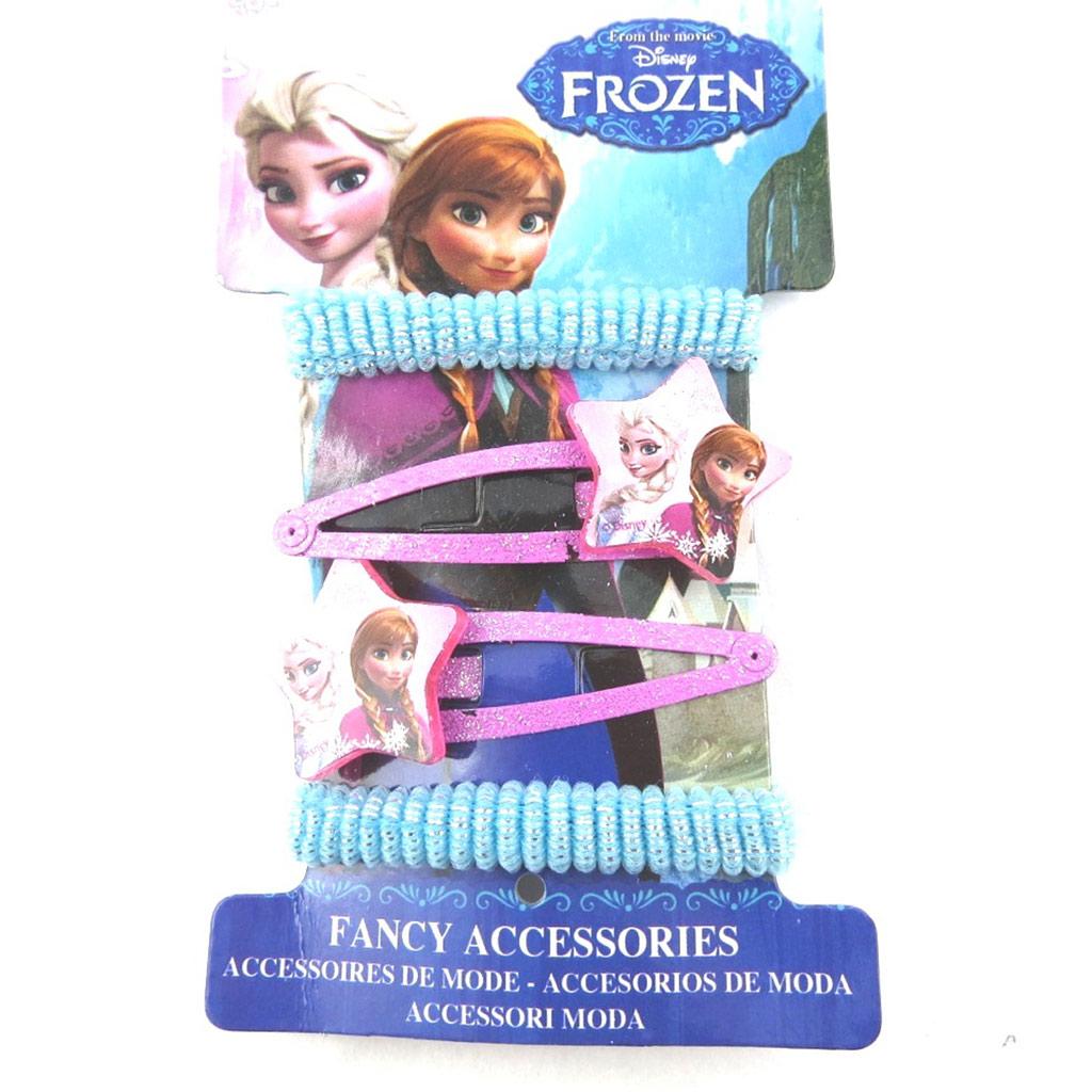 Barrettes + élastiques \'Frozen - Reine des Neiges\' rose bleu (4 pièces)  - [N0453]