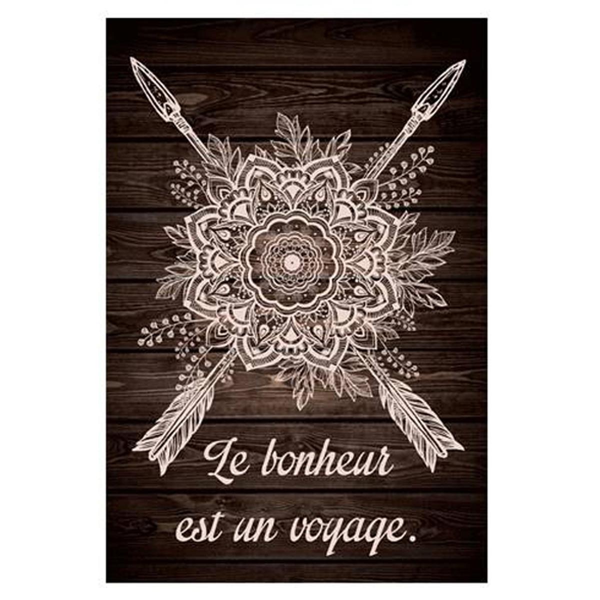 Toile \'Boho\' marron wenge (Le Bonheur est un voyage) - 34x23 cm - [P0291]