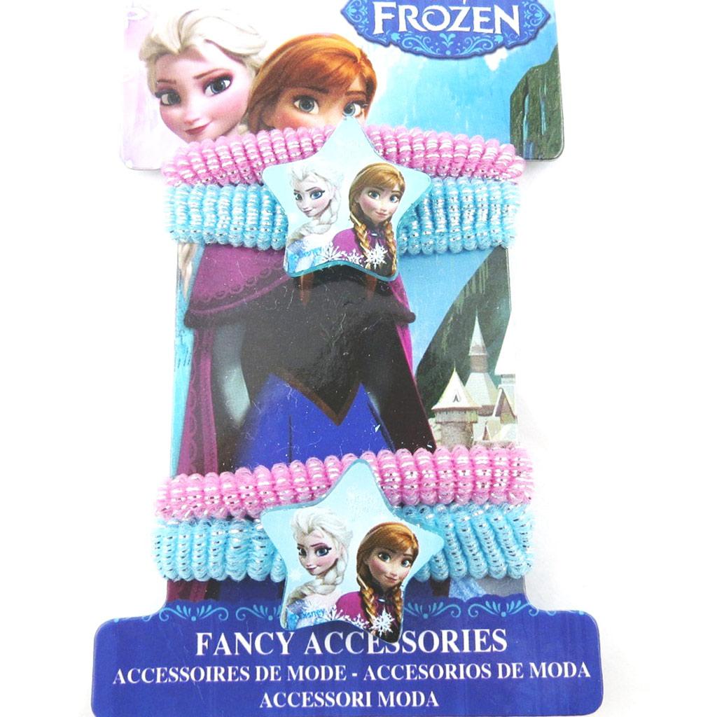 Lot de 4 élastiques \'Frozen - Reine des Neiges\' bleu rose - [N0454]